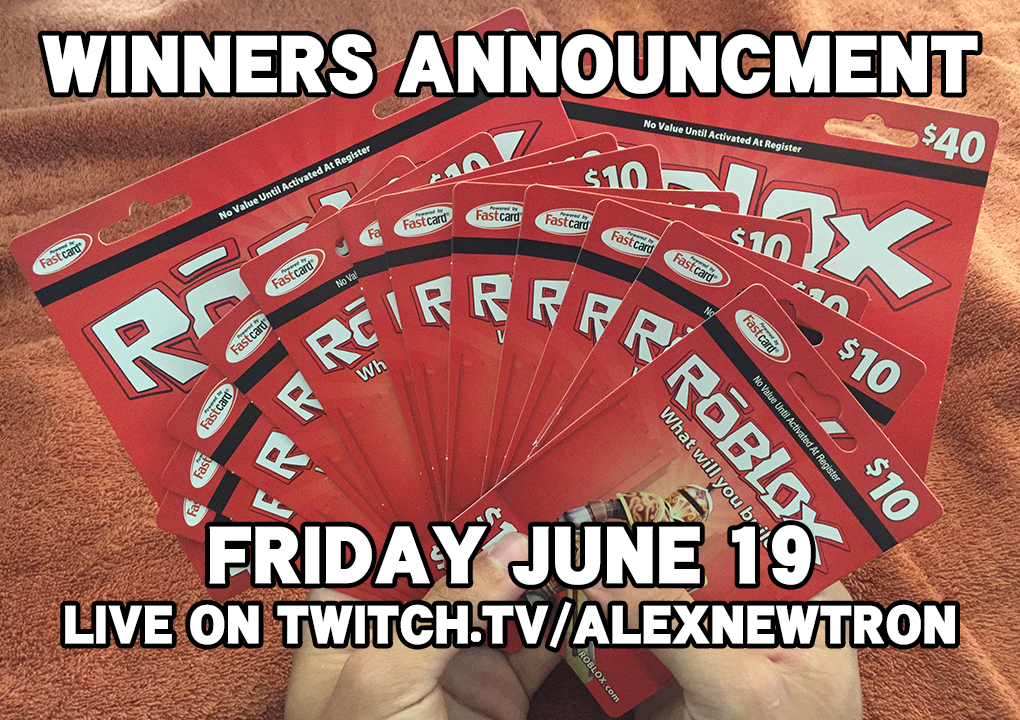 Will announce the winners of the $200 Roblox card giveaway on June 19 live on Twitch! Follow: http://t.co/sSzN6cPRCS http://t.co/BT5CXUIhuB