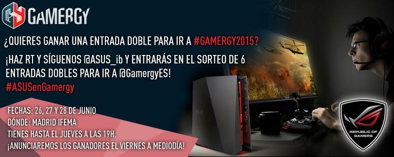 ¡Gana una entrada doble para asistir a @GamergyES! Síguenos y haz RT (Sólo RT, no texto). #ASUSenGamergy ¡Suerte! http://t.co/h1qboJsTmN