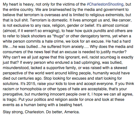 Because 140 characters aren't enough. #CharlestonShooting #NoExcuse http://t.co/zirSHiuAQD