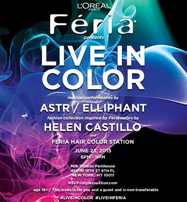 ATTN NYC! Our Feria #LiveInColor event is 6/23! Performances by @ASTRtv, @ElliphantMusic, & @Designer_Helen. RSVP 18+ http://t.co/rvYUtq4fNI