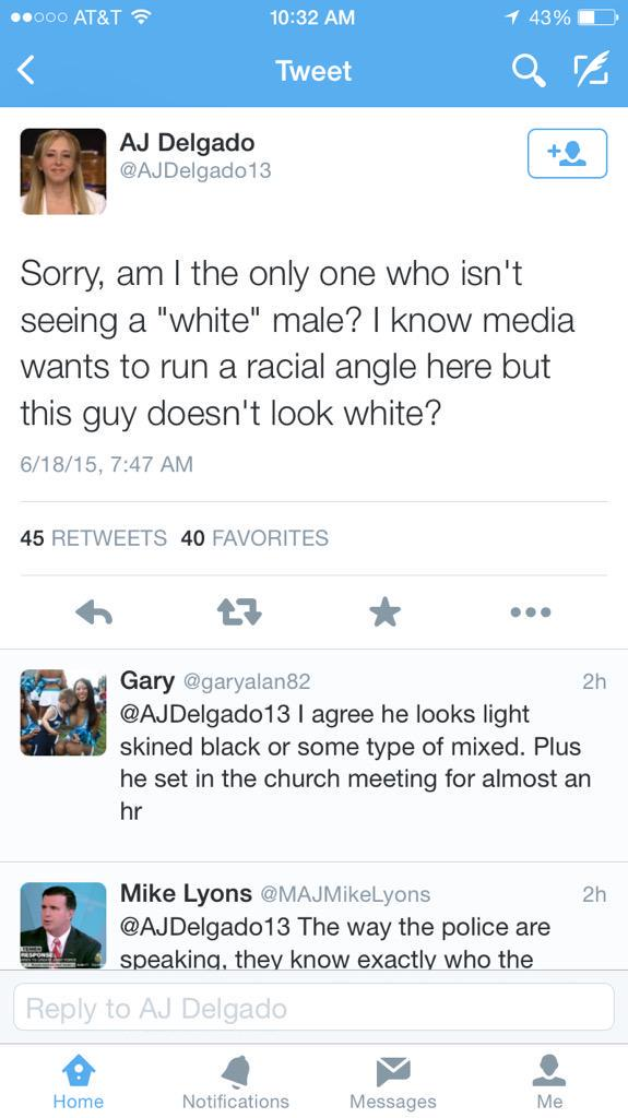 White people would rather pretend to be blind than acknowledge the prospect of a white terrorist #CharlestonShooting http://t.co/Pilr82zFvm
