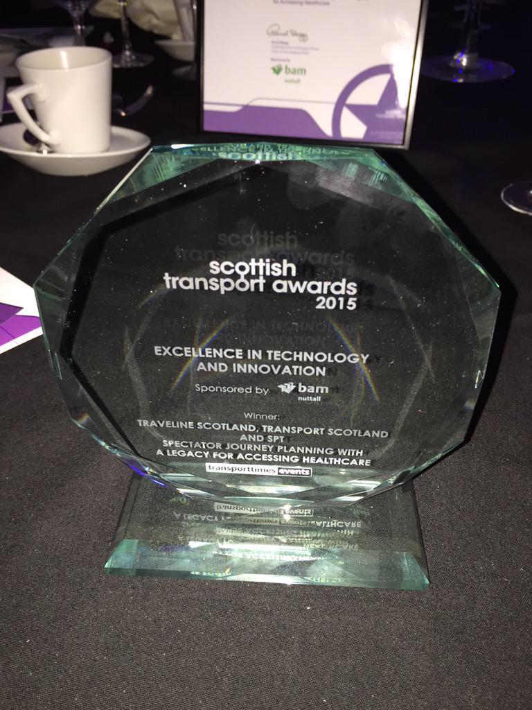 WE WON! A Scottish Transport Award for our @transcotland @TravelineScot @trafficscotland app! http://t.co/pfOM1gMkQ8