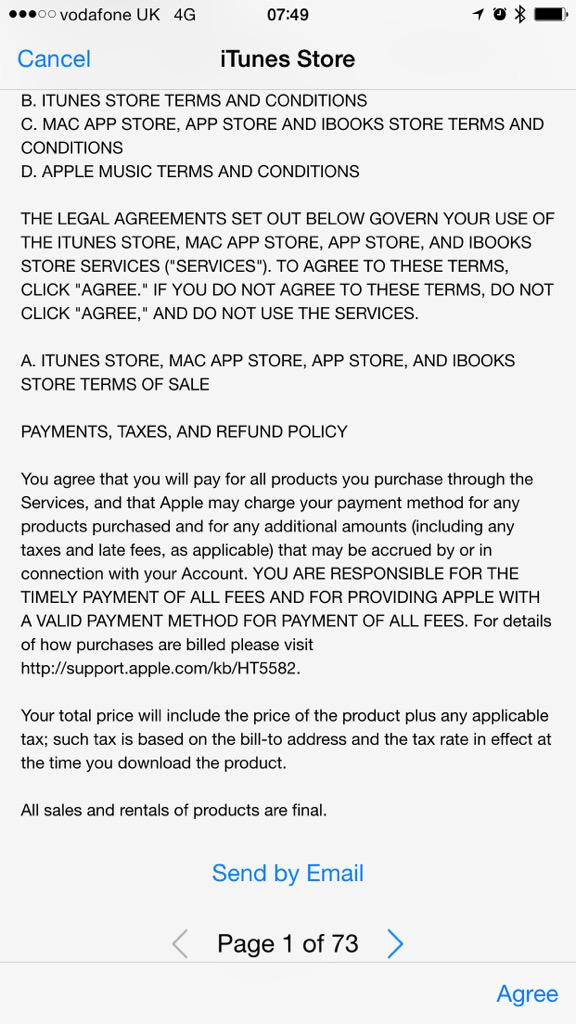 While #Banks simplify T&C's to ensure clarity, the likes of #Apple make it a 73 page mobile #experience http://t.co/iiz2IsPnow