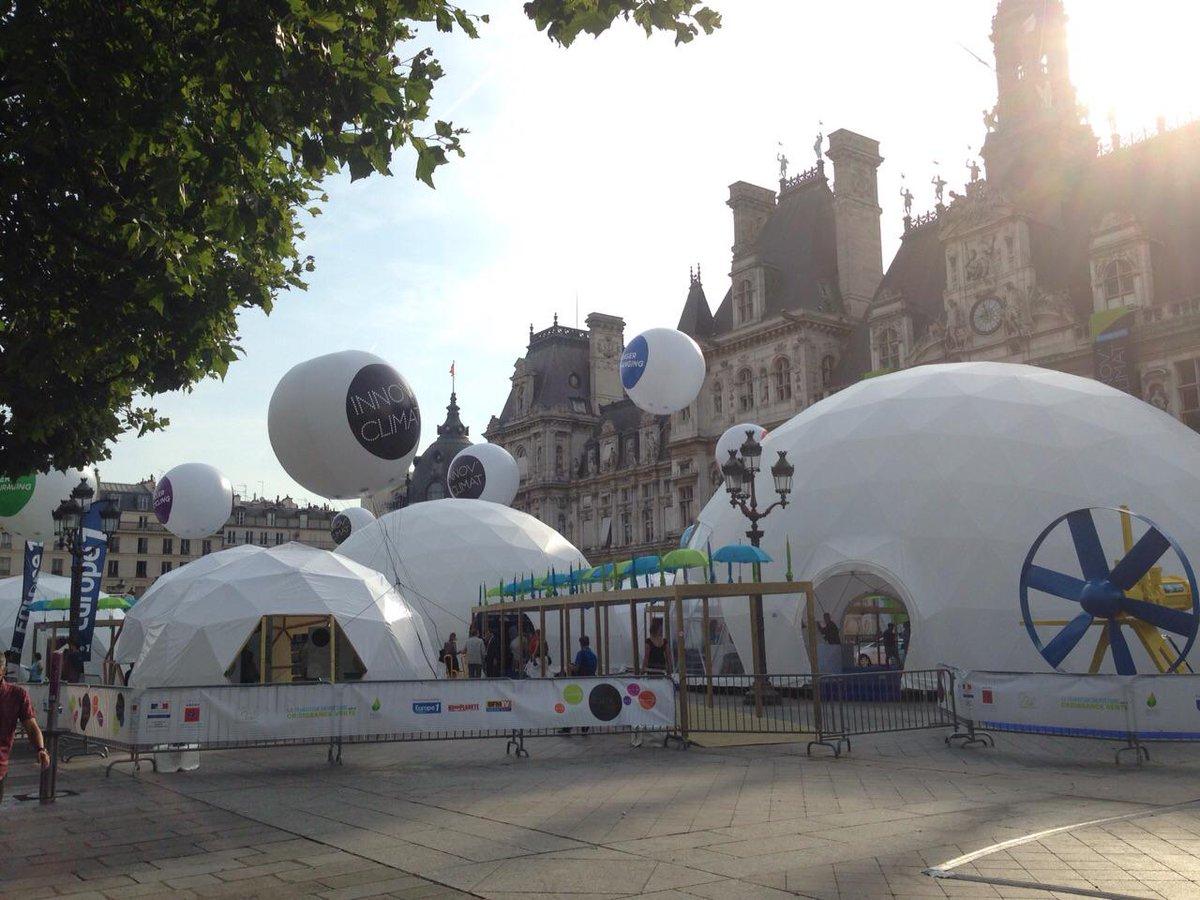 L'Exposition #InnovClimat commence aujourd'hui sur le parvis de l'Hôtel de Ville de Paris #COP21 http://t.co/N9UG257D2v