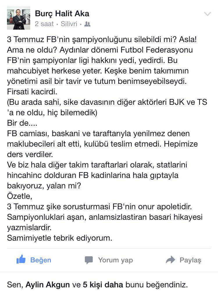 Çok iyi bir Galatasaray'lı olan dostum Burç Aka'dan. @burchaka http://t.co/dAsKCls0lE