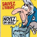 Titelblatt Charlie Hebdo - Rettet Europa, ertränkt einen Griechen! http://t.co/BN7v71Berj