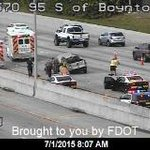TRAFFIC: 3 lanes blocked of I-95 SB near Boynton Beach Blvd. Traffic backups building fast- about 2 miles so far http://t.co/iiKspBfrLF