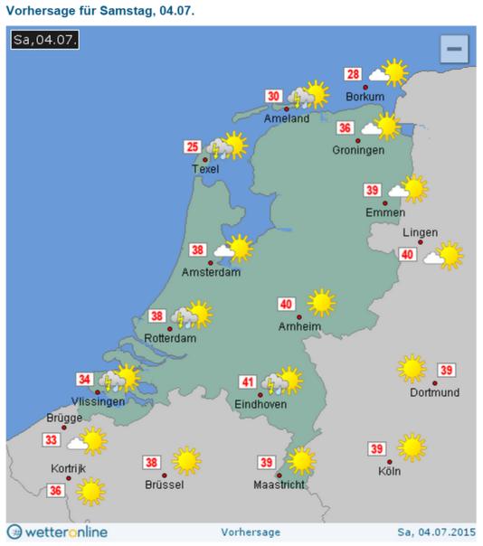 Verwachting van de oosterburen voor zaterdag: 41gr in Z-NL! In mijn weercarrière niet eerder meegemaakt. Historisch! http://t.co/gJoX5ooXKp
