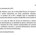 Profesores de la UPC rechazan comentario homofóbico de colega http://t.co/2u3MyikWcW http://t.co/goKJAeEonC