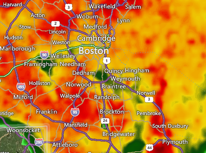 RT @breakingweather: T-storms causing delays up to 45 mins at Boston Logan Airport- via FAA: