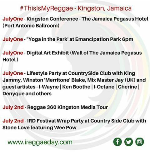 IRD KINGSTON EVENT SCHEDULE... Be apart of IREGGAE DAY!! #ThisIsMyReggae #JulyOne http://t.co/5YXMQunLBZ