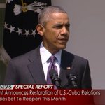 """An historic step forward to normalize relations with Cuba."" -- President Obama on restoration of U.S./Cuba relations http://t.co/H0x9gbjXmQ"