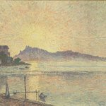 Sunset over the Pointe de Cougoussa, France, by Lucien Pissarro (1863-1944) #HottestDayOfTheYear #Summer #Sunset http://t.co/6gPj2lyjkf