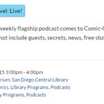RT @TheWolfman: Here's the info on the live #ThisWeekInMarvel recording Thursday at #SDCC2015!