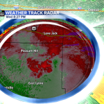 Rotation southeast of Pleasant Hill has weakened a bit. Still a dangerous storm. @41ActionNews http://t.co/cyFY5Ff4mv