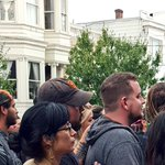 Hundreds are here to support an #LGBT mural burned for its depiction of gay cholos in #SanFrancisco http://t.co/ALxxuzrScM