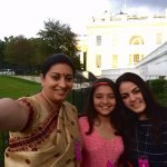 HRD Minister Smriti Irani tweets image of her & her daughters at White House in support of Selfie with Daughter http://t.co/8Pxs969kBy