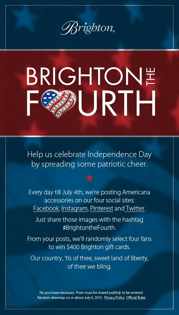 Help us celebrate the 4th of July! Retweet w/hashtag #BrightontheFourth for a chance to win a $400 Brighton gift card http://t.co/D1xHMjfK8M