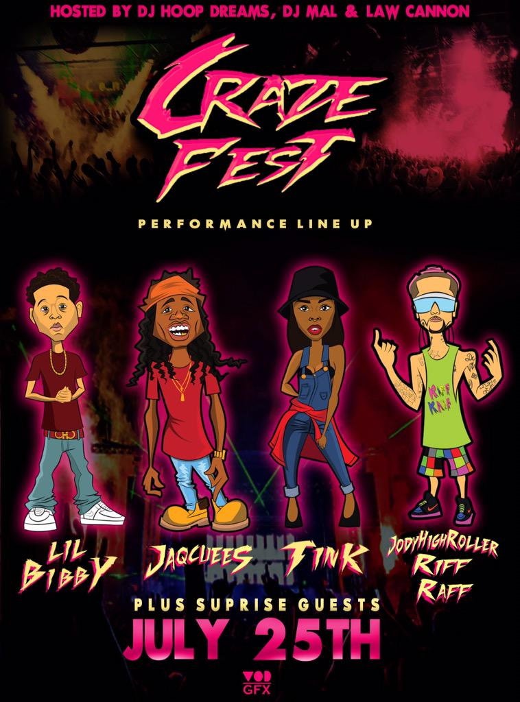 #CrazeFest   ❗️Here's the Official Artists Lineup❗️  - @LilBibby_  - @Jacquees  - @Official_Tink  - @JODYHiGHROLLER http://t.co/o8SAsxZnlc