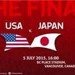 【FIFA女子ワールドカップ】決勝 「なでしこジャパン vs アメリカ」 日本時間:7月6日(月)8:00〜 7:00〜 NHK BS1 7:45〜 フジテレビ系列 #nadeshiko #FIFAWWC #JPN #USAJPN http://t.co/bpz7MdSe9e