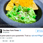 The New York Times suggested we all make guacamole with peas and the world is freaking out http://t.co/5kdbi8uJNS http://t.co/vvoW3isOIO