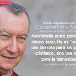 Matrimonio entre personas del mismo sexo no es una derrota de los principios cristianos sino de la humanidad(Parolin) http://t.co/CzlEcnAfDt