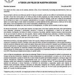 Comunicado para todos los Fieles de la Diocesis de Colón - Kuna Yala. Mons. Manuel en su Primer año de Nombramiento. http://t.co/57xajg77Jm