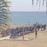 Onda deportiva, presentación de los jugadores @MalagaCF en playa de la Malagueta de Charles, Espinho y Juan Carlos http://t.co/Dz0QTTYsju