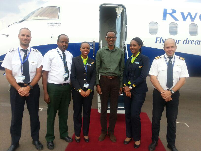 On June 29/30, we got the privilege of flying H.E @PaulKagame in our brand new #Bombardier Q400 to and from #Kamembe http://t.co/UGil93oH5q