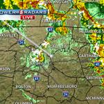 #Storm5HDRadar shows a strong storm over #Nashville, but its below severe limits. Your wet forecast #NOWonNC5 http://t.co/WkvDm1nc0v