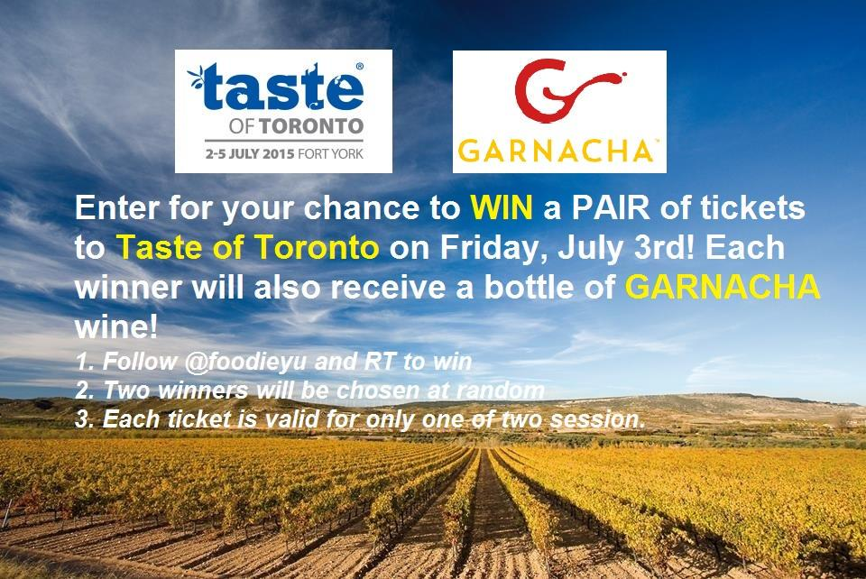 WIN tix to Friday's @TasteofToronto + @WinesofGarnacha wine! Just follow @foodieyu & RT #TasteofToronto #garnachaTO http://t.co/pJDaPEeQeC