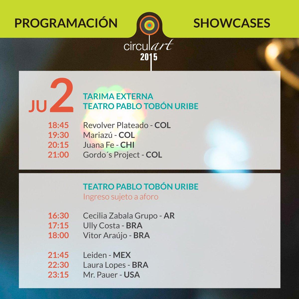 Y esta es la programación de showcases para hoy, 2 de julio. ¡Nos vemos en #Circulart2015! http://t.co/vgpIaT0NHW