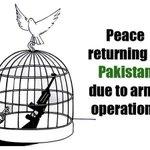 -- ,: RT Ayashabaloch11: Peace returning to #Pakistan due to army operation against #BLA #BLF #UBA #عمران_بچائے_گ… http://t.co/HLvHTn7DNC
