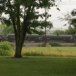 Getting our first look at the derailed train. This is as close as we could get to the derailment site. http://t.co/X4XwrirGBN