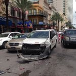 If youre wondering why Canal St traffic is bad: guy stole and crashed a taxi. More TK @NOLAnews http://t.co/TNoa94Rfz6