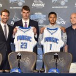 The @OrlandoMagic draft picks Mario Hezonja and Tyler Harvey were introduced to the media. Story on #WFTVat6 http://t.co/XDYANlLMGN