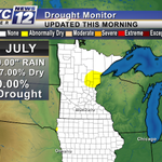 All the rain weve received recently has eliminated drought conditions in the state. Only 7% dry. #MNwx #Mankato http://t.co/WvD7nEEY03
