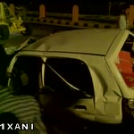Spot visuals: BJP MP Hema Malini meets with an accident in Dausa, Rajasthan. http://t.co/6mmfXrszDN