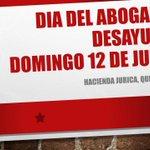Desayuno DÍA DEL ABOGADO Hacienda Jurica Qro., Confirmar asistencia universidaddelamancha@yahoo.com @UdelaMancha http://t.co/PnJpiVSxAC