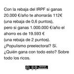 Rajoy baja el IRPF en plena campaña electoral, migajas para sus esclavxs #PPopulistas http://t.co/t1W5aCZ6zs