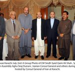 CM #Sindh,Speaker Sindh Assembly & Iranian Consul General during Iftar hosted by Consul General of #IRAN in #Karachi http://t.co/TZhivSN8Uq