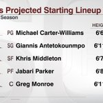 With the addition of Greg Monroe, the @Bucks will potentially have a tall starting lineup next season: http://t.co/4rIJkb4d7P