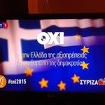 #Greferendum Importante detalle en el anuncio por el NO de #Syriza: La bandera europea se funde con la griega http://t.co/rnKGUYegTQ