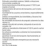 INFO IMPORTANTE: Suspendidas las actividades de pregrado mañana viernes y Sábado, tampoco habrá comedor. #UNET http://t.co/NgUNBWoucI