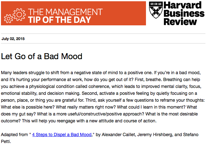 Our management tip: Get out of a negative state of mind http://t.co/1dIhW1iJZ8