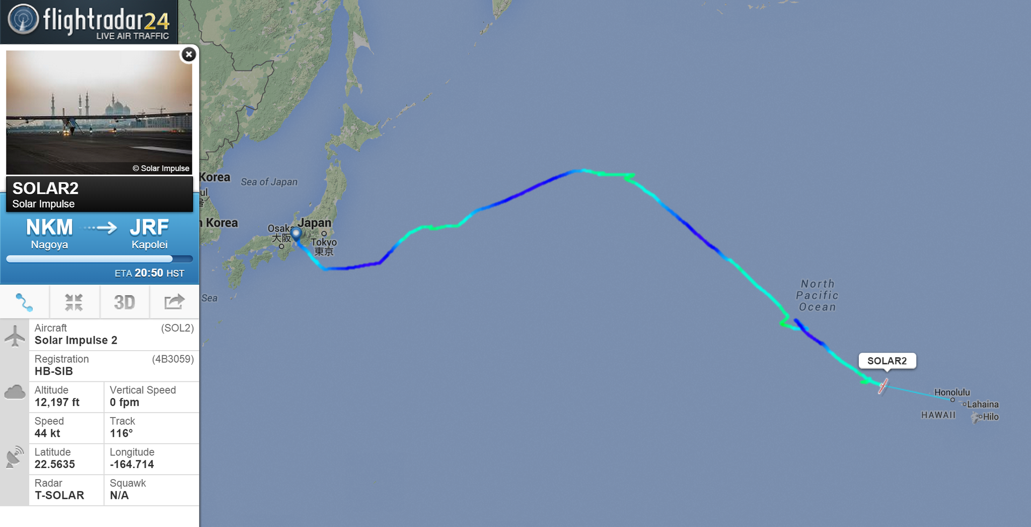 RT @flightradar24: 100 hours ago @andreborschberg and @solarimpulse took off from Japan! Now Hawaii is less than 1000 km away http://t.co/svZmAhbweQ