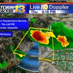 """SEVERE TSTORM WARNING for Saguache & Rio Grande Co. until 4:45PM. 60MPH gusts and 1"""" hail #cowx http://t.co/f2VdpRmJMO"""