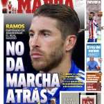 """HE IS NOT BACKING DOWN"" - Marca front page tomorrow stating that Ramos is ""determined to leave Real Madrid"" http://t.co/9BNbUJFZtQ"