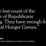 President Obama compared the G.O.P. field seeking the nomination to the Hunger Games http://t.co/bsnGi0lAF6 http://t.co/bs2gW2nkfc