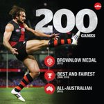 A huge congratulations to @JobeWatson, wholl play his 200th game for @EssendonFC today. Best of luck, skipper. http://t.co/yx9rA1M5eX